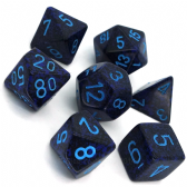 Blue & Black 'Cobalt' Speckled Polyhedral 7 Dice Set